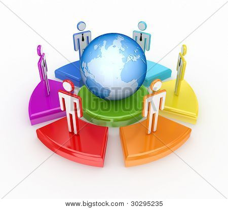 Colorful graph, globe and 3d small people.