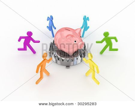 Colorful 3d small people around piggy bank.