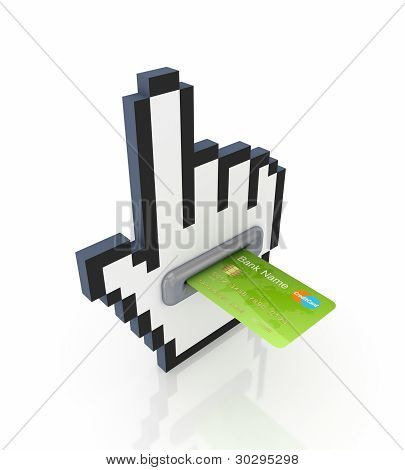 Large cursor and green credit card.