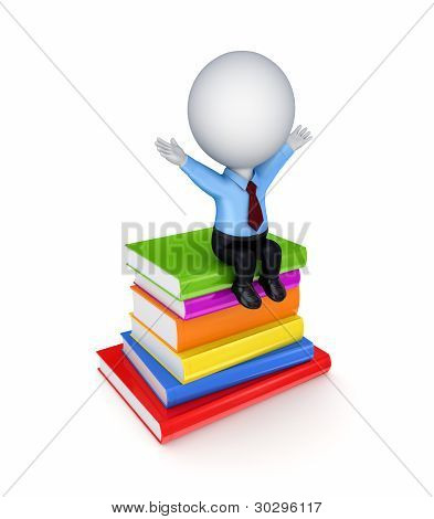 3d small person sitting on a stack of books.