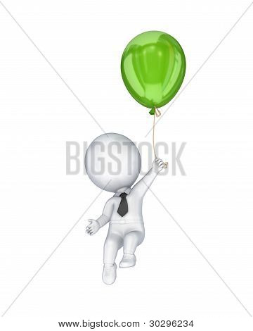 3d small person flying with a green air balloon.
