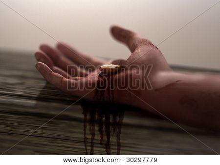 Mano Jesús Nail perforado en foco