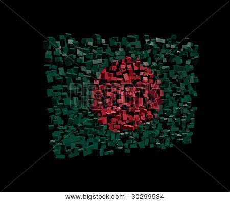 Bangladeshi flag on blocks illustration