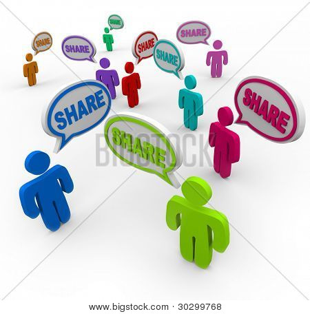 The word Share in many speech bubbles spoken by people giving or helping each other with comments, feedback, answers, or opinions