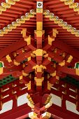 Japanese Traditional Architecture. The Elegant Construction Of The Japanese Temple Of Red And Gold B poster