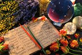 Open Witch Diary With Names Of Healing Herbs, Crystal Ball And Flowers. Wicca, Esoteric, Divination  poster