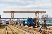 Railway Gantry Crane At Point Of Uncoupled Repair Of Locomotives Railway Carriages And Trains At Dep poster