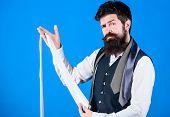 Man Bearded Hipster Hold Few Neckties. Guy With Beard Choosing Necktie. Perfect White Silk Necktie.  poster
