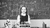 Lab Microscope. She Has Brilliant Scientific Mind. Chemistry Microscope. Little Child At Laboratory. poster