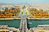 View From The Eiffel Tower On The Jena Bridge And The Seine River In Paris, Autumn Colors, High Magn poster