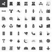 Healthy Lifestyle Vector Icons Set, Sport Equipment Modern Solid Symbol Collection, Fitness Filled S poster
