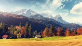 Awesome Alpine Highlands In Sunny Day With Perfect Sky. Scenic Image Of Fairy-tale Alpine Landscape  poster