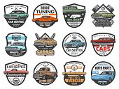 Car Service, Auto Repair Garage And Automotive Mechanic Icons. Vector Retro Vintage Cars Club, Off-r poster