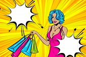 Vintage Pop Art Girl Shopping. Halftone Pattern Comic Book Backdrop. Wow Smiling Face Pop Art Woman. poster