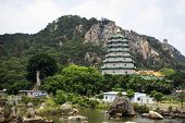 View Landscape With Stone And Rock Water Garden Of Tiantan Temple And Chedi In Tian Tan Garden With poster