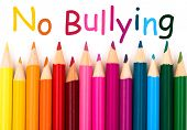picture of stop bully  - A pencil crayon border isolated on white background with words No Bullying - JPG