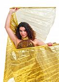 pic of isis  - Beautiful young dancer with golden Isis wings - JPG