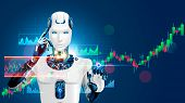 Robot Trading On Stock Market. Artificial Intelligence Of Forex Broker With Analyzing Business Chart poster
