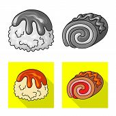 Vector Illustration Of Confectionery And Culinary Icon. Collection Of Confectionery And Product Vect poster