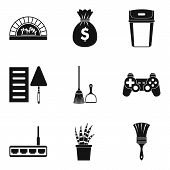 Domestic Labour Icons Set. Simple Set Of 9 Domestic Labour Icons For Web Isolated On White Backgroun poster