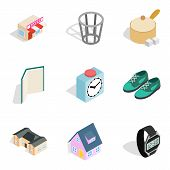 Homelike Atmosphere Icons Set. Isometric Set Of 9 Homelike Atmosphere Icons For Web Isolated On Whit poster