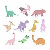 Set Of Cartoon Dinosaurs. Cute Funny Illustration Of Dinosaurs. Vector Illustration poster