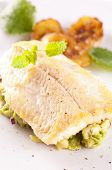 stock photo of faber  - trout fried with avocado tatar - JPG