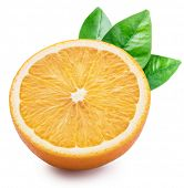 Orange fruit half with orange leaves on white background. File contains clipping path. poster