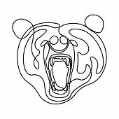 Continuous One Line Fury Bear Head, Snarling Bear. Vector Illustration. poster