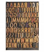 vintage wood letterpress printing blocks on a metal tray - the entire English alphabet with duplicat