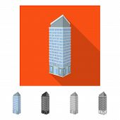 Isolated Object Of Skyscraper And Office Sign. Set Of Skyscraper And Department Vector Icon For Stoc poster
