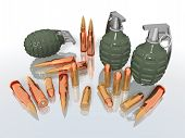 stock photo of gun shot wound  - a 3d rendering of some grenades and bullets - JPG