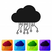 Black Internet Of Things Icon Isolated On White Background. Cloud Computing Design Concept. Digital  poster