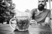 Craft Beer Is Young, Urban And Fashionable. Distinct Beer Culture. Mug Cold Fresh Beer On Table Clos poster