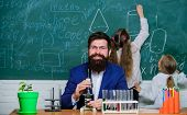 Man Bearded Teacher Work With Microscope And Test Tubes In Biology Classroom. Biology Plays Role In  poster