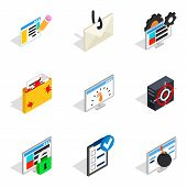 Statistical Information Icons Set. Isometric Set Of 9 Statistical Information Icons For Web Isolated poster