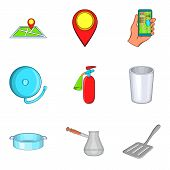 Yard Icons Set. Cartoon Set Of 9 Yard Icons For Web Isolated On White Background poster