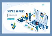 Isometric Hr Manager, We Hire Employees To Our Company, Business Recruiting Concept. Template Landin poster