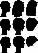 Постер, плакат: Женский силуэт головы & волос Styles Eps