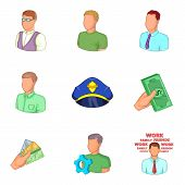 Private Profile Icons Set. Cartoon Set Of 9 Private Profile Icons For Web Isolated On White Backgrou poster
