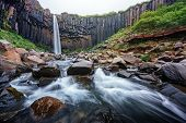 Gorgeous landscape with famous Svartifoss waterfall, another named Black fall. Skaftafell, Vatnajoku poster
