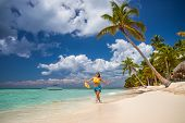 Island In The Tropics. Happy Girl Enjoying Tropical Sandy Beach, Punta Cana, Dominican Republic poster