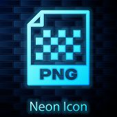 Glowing Neon Png File Document Icon. Download Png Button Icon Isolated On Brick Wall Background. Png poster