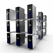 image of supercomputer  - Several interconnected computer working together and available through a network - JPG