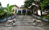 stock photo of jainism  - Jainist Temple with gardens and statues in Calcutta India - JPG