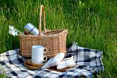 Picnic In The Park On The Green Grass. Picnic Basket And Blanket.  Tableware For Picnic. Summer Holi poster