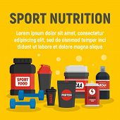 Fitness Sport Nutrition Concept Background. Flat Illustration Of Fitness Sport Nutrition Vector Conc poster