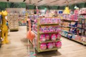 Abstract Blurred Image Of Shopping Mall Or Retail Store With Product Shelves. Shopping Center Showca poster
