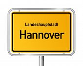 City limit sign HANNOVER (Hanover) against white background - capital of the federal state Lower Sax