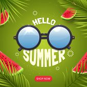 Hello Summer Banner Design With Lettering And Sunglasses. Summer Card Concept With Green Background, poster
